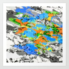 psychedelic splash painting abstract texture in blue green orange yellow black Art Print