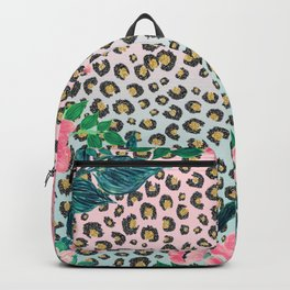 Girly Pink Mint Ombre Floral Leopard Print Glitter Image Backpack