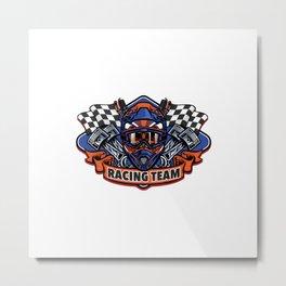 Shirt Design Skull Wearing Motocross Helmet Racing Team Metal Print