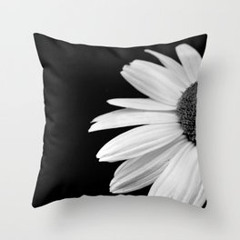 Half Daisy in Black and White Throw Pillow