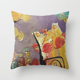 Cat in the city Throw Pillow