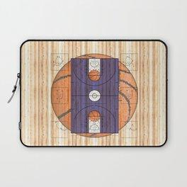 Purple Basketball Court with Basketballs Laptop Sleeve