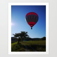 ballon Art Prints featuring Ballon landing by Rainer Steinke