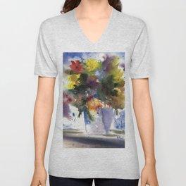 Spring Flowers in Blue Vase, original watercolor painting Unisex V-Neck