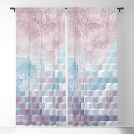 Distressed Cube Pattern - Pink and blue Blackout Curtain