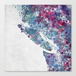 Vancouver Island map Canvas Print