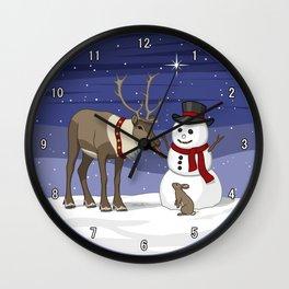 Santa's Reindeer Giving Snowman's Carrot Nose To Bunny Wall Clock