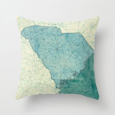South Carolina State Map Blue Vintage Throw Pillow