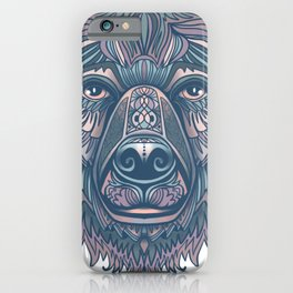 Bear lovers illustration/ hand drawn bear face/ pink, teal blue iPhone Case