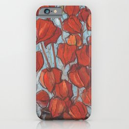 Chinese Lanterns, Pastel Painting, Autumn Floral iPhone Case