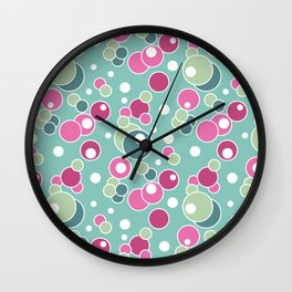 Retro. Multi-colored polka dots . Wall Clock