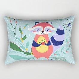 Happy Raccoon Card Rectangular Pillow