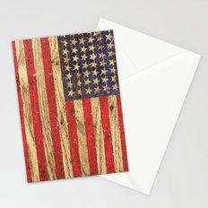Vintage Patriotic American Flag on Old Wood Grain Stationery Cards