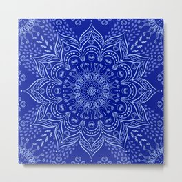 Blue Boho Mandala Metal Print