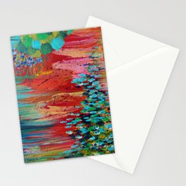 REVISIONED RETRO - Bright Bold Red Abstract Acrylic Colorful Painting 70s Vintage Style Hip 2012 Stationery Cards