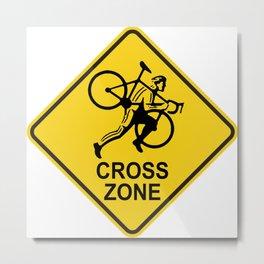 Cyclocross Zone Road Sign Metal Print