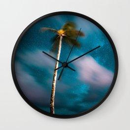 Glitch palm trees Wall Clock