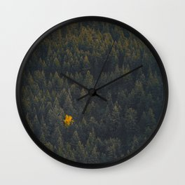 Modern Landscape Photography Single Autumn Tree Pine tree Forest Green Trees Yellow Focal Point Wall Clock