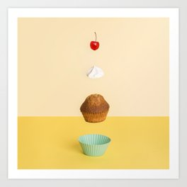 Floating cupcake Art Print