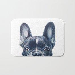Hand painting French Bulldog Dog illustration original painting print Bath Mat