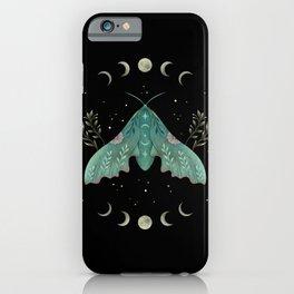 Luna and Moth - Midnight Black iPhone Case