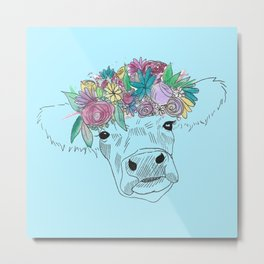 Flower Cow Metal Print