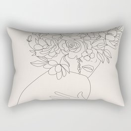 Woman with Flowers Minimal Line III Rectangular Pillow