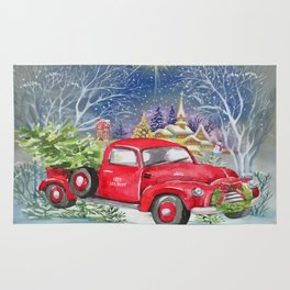 red truck with christmas tree rug