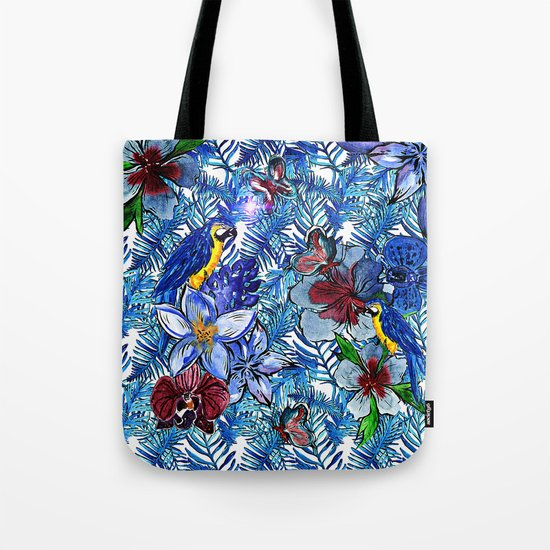 Aloha - Tropical blue Palm Leaf Flower and Bird Pattern on #Society6 Tote Bag
