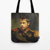 brad pitt Tote Bags featuring Brad Pitt - replaceface by replaceface