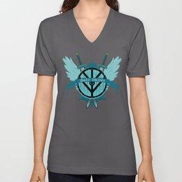 Shield Maiden Winged Teal Viking Shield Unisex V-Neck