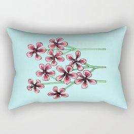 Cherry Blossoms on Blue Rectangular Pillow