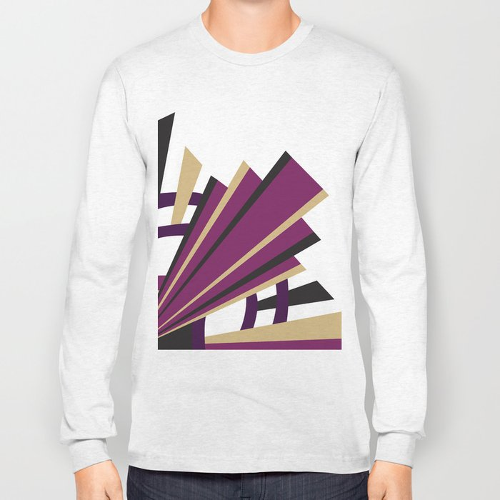 Art Deco Levels In Purple Long Sleeve T-shirt