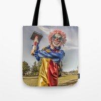 clown Tote Bags featuring CLOWN by Steve Zar