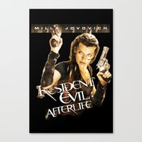 resident evil Canvas Prints featuring Milla Jovovich Resident Evil Afterlife by f3mal3s