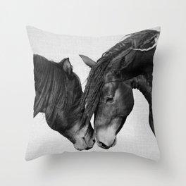 Horses - Black & White 4 Throw Pillow