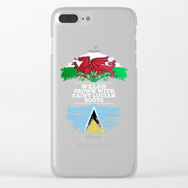 Welsh Grown With Saint Lucian Roots Clear iPhone Case