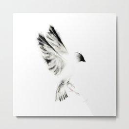 Ink and Charcoal Bird Metal Print