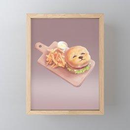 Smile Dog Burger Framed Mini Art Print