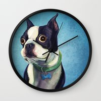 terrier Wall Clocks featuring Boston Terrier by Jackie Sullivan