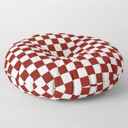 Vintage New England Shaker Barn Red and White Milk Paint Jumbo Square Checker Pattern Floor Pillow