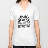 camus V-neck T-shirts featuring Camus on Finding the Truth by Josh LaFayette