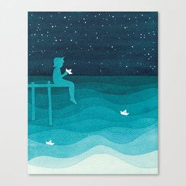Boy with paper boats, watercolor teal art Canvas Print