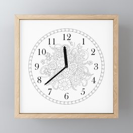 floral clock in black&white Framed Mini Art Print