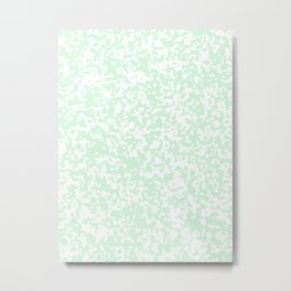 Small Spots - White and Pastel Green Metal Print
