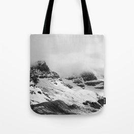 Mountain Minimalism Glacier Alberta   Black and White Photography Tote Bag