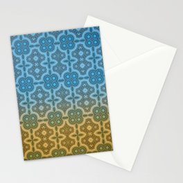 Blue and Gold Moroccan Boho Chic Inspired Tile Mosaic Stationery Cards
