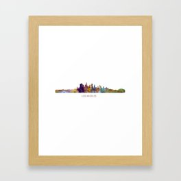 Los Angeles City Skyline HQ v1 Framed Art Print