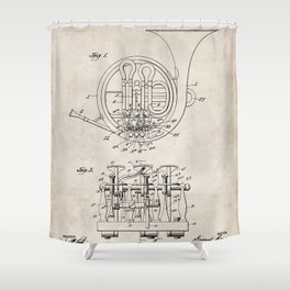 French Horn Patent - Horn Player Art - Antique Shower Curtain