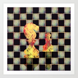 Grunge  Chessboard and Chess Pieces Art Print
